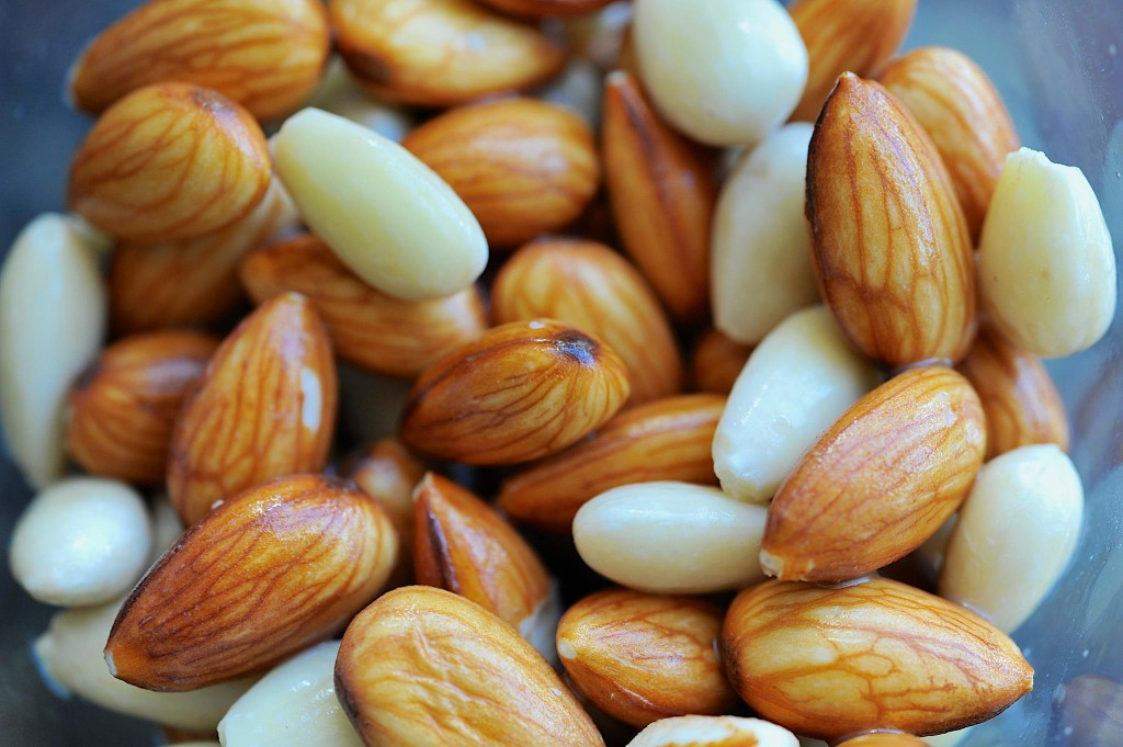 Soaked almonds, ready for sprouting