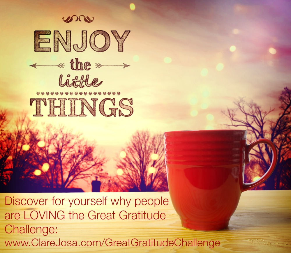 If I had to sum up everything I teach about #gratitude in 4 simple words? #GratitudeQuote: Enjoy The Little Things. Discover for yourself why people are LOVING the Great Gratitude Challenge: http://www.ClareJosa.com/GreatGratitudeChallenge